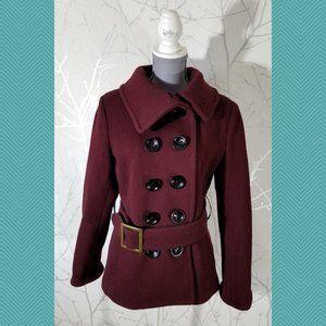 SOIA & KYO Burgundy Tweed Double Breasted Pea Coat